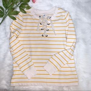 Old navy relaxed yellow striped long sleeve top